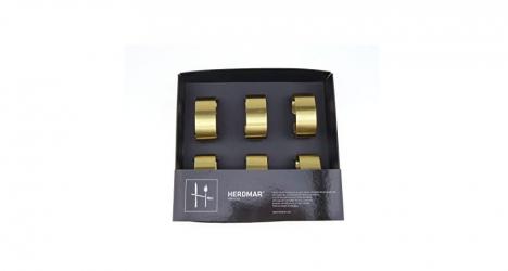 ხელსახოცის შესაკრავი, სეტი 6ც., ოქროსფერი