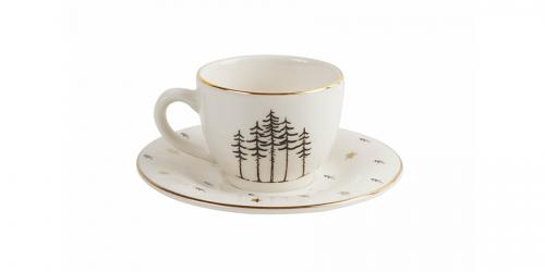 ფაიფურის ყავისს ფინჯანი და ლამბაქი FOREST, 6 ცალი