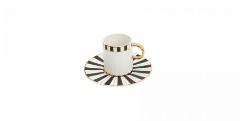 ფაიფურის ყავის ფინჯანი და ლამბაქი, სეტი 6ც., PALMS