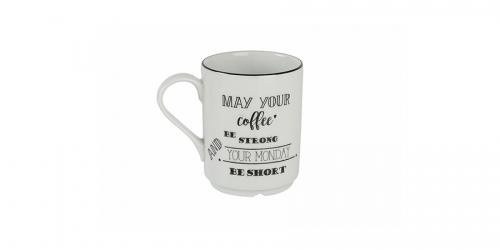 ფაიფურის ჩაის ჭიქა BE HAPPY